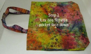 Step 1: Lay bag flat with pocket face down